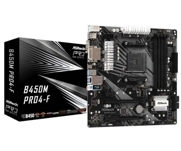 ASRock B450M Pro4-F AMD AM4 Socket Motherboard