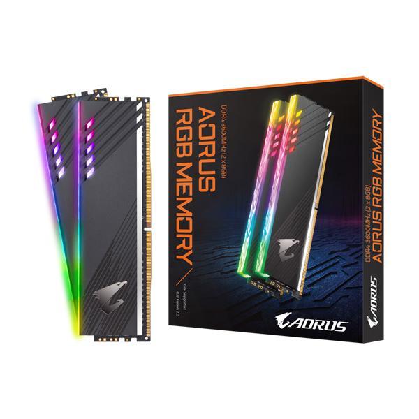 GIGABYTE AORUS RGB 16GB (8GBx2) DDR4 3600MHZ RAM (GP-AR36C18S8K2HU416R)