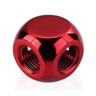 BYKSKI G1/4 3-WAY T ADAPTER (RED) (B-TE3-X-R)