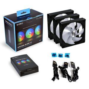 LIAN LI UNI FAN AL120 RGB DAISY CHAIN ARGB 120mm CABINET FAN (BLACK) (UF-AL120-3B)