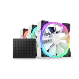 NZXT AER RGB 2 120mm TRIPLE STARTER PACK CABINET FANS (WHITE) WITH FAN CONTROLLER (HF-2812C-TW)