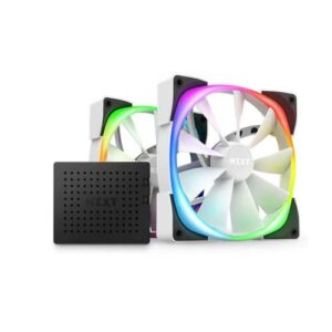 NZXT AER RGB 2 140mm TWIN STARTER PACK CABINET FANS (WHITE) WITH FAN CONTROLLER (HF-2814C-DW)